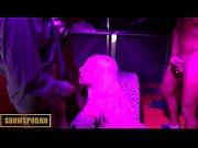 Hot blonde orgy in public