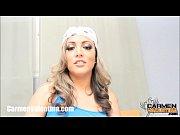 Cumslut Carmen Valentina gets a facial on laund...