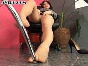 Asian secretary in pantyhose stocking nylon foo...