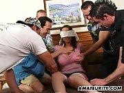 Busty amateur girlfriend enjoys 4 dicks with hu...