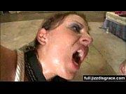 hot brunette takes multiple bukkake facials