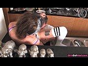 Sexy punk teenie licked in the kitchen