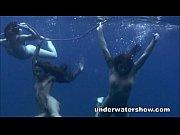 Three girls swimming nude in the sea