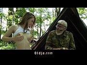 Bearded 70 yo grandpa fucks teen in the forest