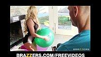 Busty blonde yoga instructor Claudia Valentine fucks her student
