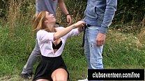 Catholic schoolgirl take two dicks outdoors porn videos