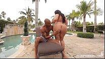 black bbw barbie christy live bangs in bikini by the pool