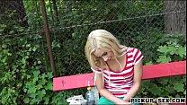 Blonde Czech babe Nesty shows her twat and poun...