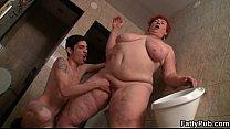 Huge fatty is slammed in the public restroom porn videos
