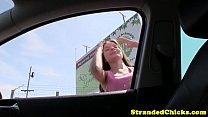 Hitchhiking petite receives cumshot on clit