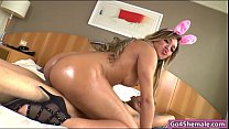 huge boobs shemale bunny yume farias sucks and anal pounded