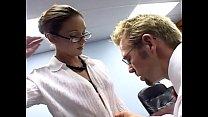 Secretary fucking in a bra garter and stockings