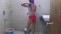 Indian Wife Reenu Shower Erotic Red Lingerie Ge...