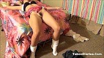 Домашний стриптиз девушки в джинсовой юбке видео