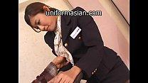 Asian Hairy Air Hostess in uniform getting sex porn videos