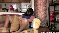 sexy milf raquel humps the couch in pantyhose