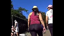 latina mega butt walking in SPANDEX