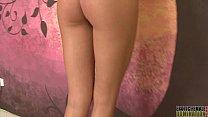 Topless hottie tramples on slaves torso