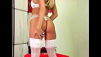 lingerie white in fingering and stripping blonde lingerie