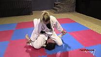 Girls wrestling in kimonos (real pindown match)