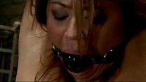 Busty Girl Mouth Gag Hanging Leg Cuff Elecktros...