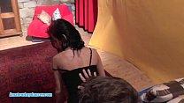 Petite brunette lapdances for horny friend