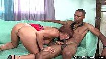 Milf Desi Foxx unloads a black cock on her face