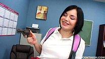 teacher her by banged getting enjoys girl brunette innocent Cute
