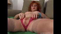 Sexy old spunker is a squirter when she masturb...