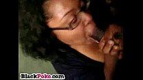 Black girlfriend gives blowjob and swallows