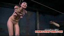 mistress plays brutal bdsm games with hard bonded slaves