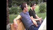 3 guys having barebackfun outdoors