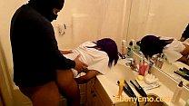 ebony emo chick bends over the public bathroom sink