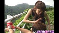 Tomoka Matsunami fucks man in mouth and ass with strap on outdoor porn videos