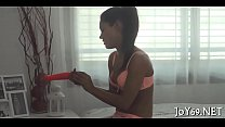 Teen rubs love tunnel and moans