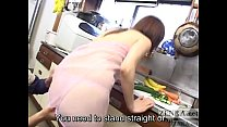 CMNF unfaithful Japanese wife kitchen foreplay ...