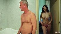 My step sister with big tits fucks grand dad gives him titjob and handjob porn videos