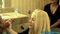 wanking loving blonde milf tugs