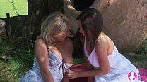 viv thomas lesbian hd blonde and brunette babes having sex at the garden