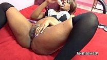 Black hottie Solah LaFlare stuffs her twat with...