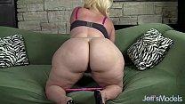 plus sized blonde masseratie monica dildos herself to orgasm
