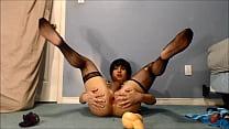 sissy crossdress plays with toys