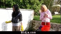 2 Young slutty maids fucks the old servant porn videos