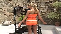 Zuzana masturbates with home gym and receives a...