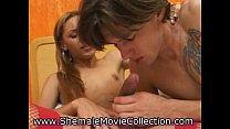 Boy Tastes Shemale Cum!