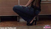 Pigtailed teen Tatiana stuffed into skinny jeans