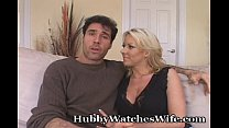 wifey goes bareback while hubby watches