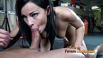 Dark haired femdom gives her slave a blowjob af...