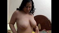 Beautiful busty brunette BBW fucks her soaking wet pussy porn videos