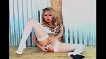 Blonde babe Kat masturbates in stockings n panties